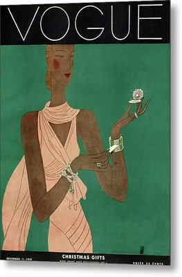 A Vintage Vogue Magazine Cover Of A Woman Metal Print by Eduardo Garcia Benito