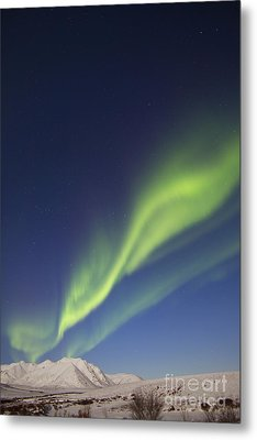 Aurora Borealis With Moonlight Metal Print by Joseph Bradley
