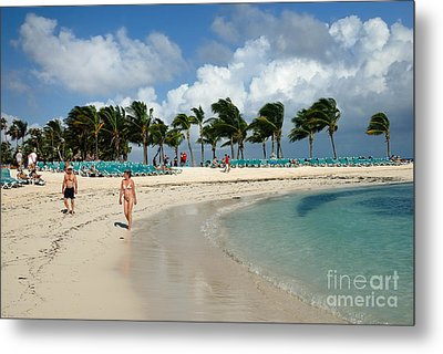Beach At Coco Cay Metal Print by Amy Cicconi