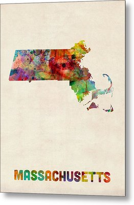 Massachusetts Watercolor Map Metal Print by Michael Tompsett