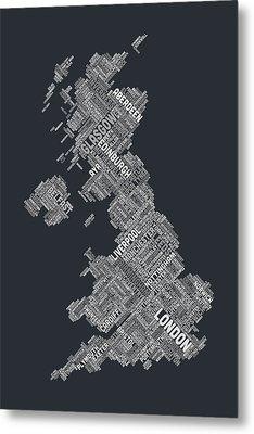 Great Britain Uk City Text Map Metal Print by Michael Tompsett