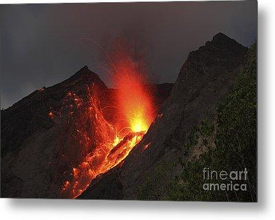 Strombolian Type Eruption Of Batu Tara Metal Print by Richard Roscoe