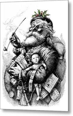 1800s 1881 Santa Holding Toys Pipe Metal Print