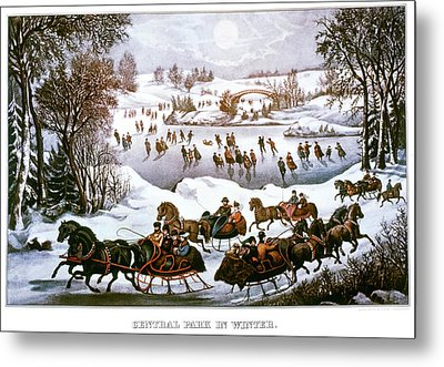 1860s Central Park In Winter - New York Metal Print
