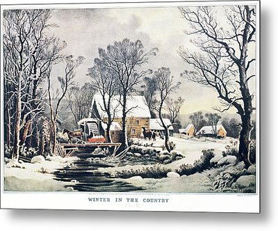 1860s Winter In The Country - The Old Metal Print