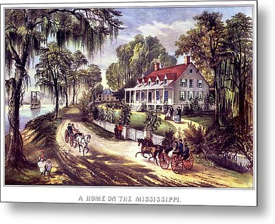 1870s 1800s A Home On The Mississippi - Metal Print