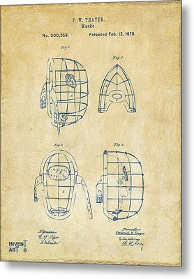 1878 Baseball Catchers Mask Patent - Vintage Metal Print by Nikki Marie Smith