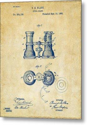 1882 Opera Glass Patent Artwork - Vintage Metal Print by Nikki Marie Smith