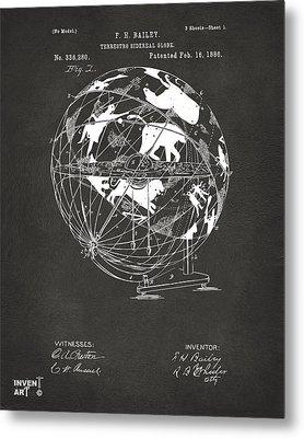 1886 Terrestro Sidereal Globe Patent Artwork - Gray Metal Print by Nikki Marie Smith
