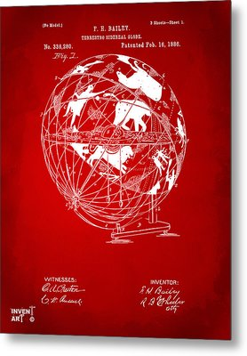 1886 Terrestro Sidereal Globe Patent Artwork - Red Metal Print by Nikki Marie Smith