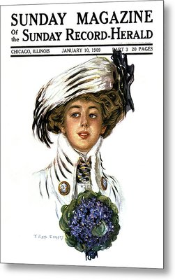 1900s Woman Wearing Stylish Hat Clothes Metal Print
