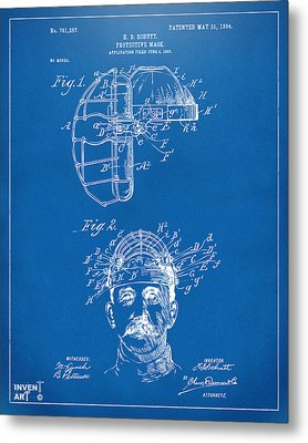1904 Baseball Catchers Mask Patent Artwork - Blueprint Metal Print by Nikki Marie Smith