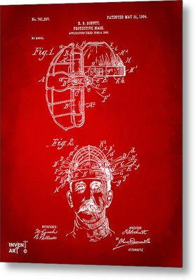 1904 Baseball Catchers Mask Patent Artwork - Red Metal Print by Nikki Marie Smith