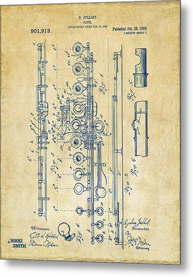 1908 Flute Patent - Vintage Metal Print by Nikki Marie Smith