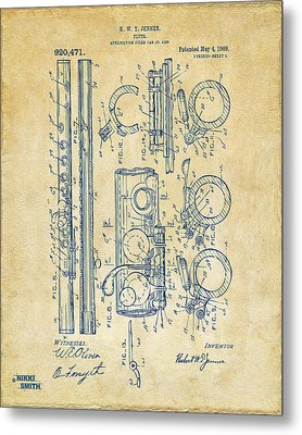 1909 Flute Patent - Vintage Metal Print by Nikki Marie Smith