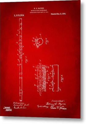 1914 Flute Patent - Red Metal Print by Nikki Marie Smith