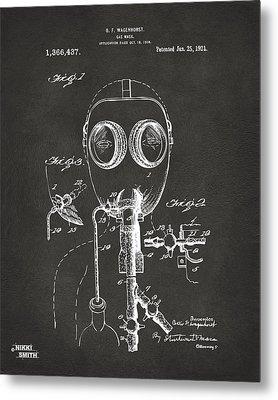 1921 Gas Mask Patent Artwork - Gray Metal Print by Nikki Marie Smith