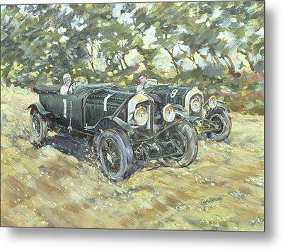 1929 Le Mans Winning Bentleys Metal Print by Clive Metcalfe