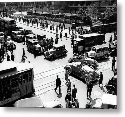 1930s Busy Intersection Fifth Avenue Metal Print
