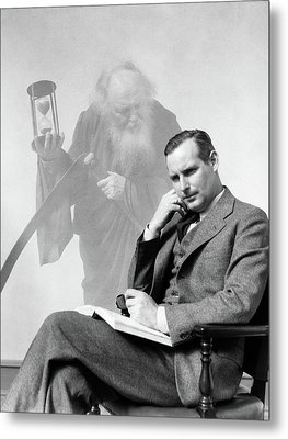 1930s Man In Suit Seated With Book Metal Print