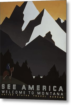 Metal Print featuring the painting 1930's See America by American Classic Art