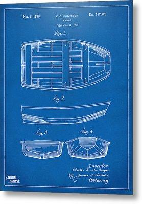 1938 Rowboat Patent Artwork - Blueprint Metal Print by Nikki Marie Smith
