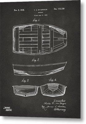 1938 Rowboat Patent Artwork - Gray Metal Print by Nikki Marie Smith