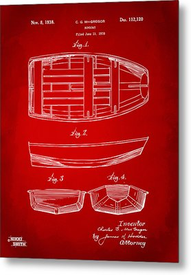 1938 Rowboat Patent Artwork - Red Metal Print by Nikki Marie Smith