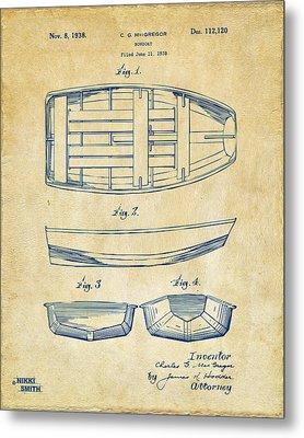 1938 Rowboat Patent Artwork - Vintage Metal Print by Nikki Marie Smith