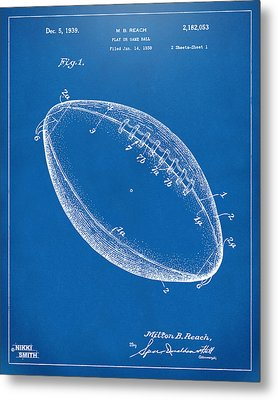 1939 Football Patent Artwork - Blueprint Metal Print by Nikki Marie Smith