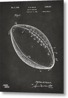 1939 Football Patent Artwork - Gray Metal Print by Nikki Marie Smith