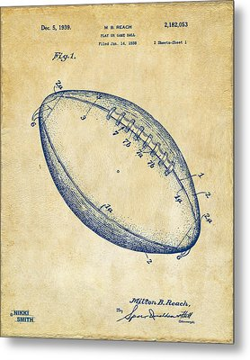 1939 Football Patent Artwork - Vintage Metal Print by Nikki Marie Smith