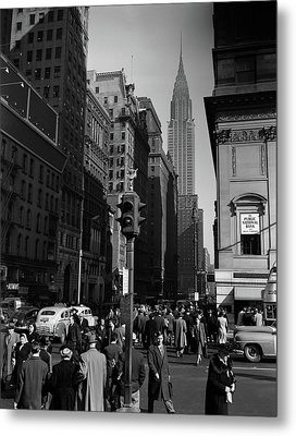 1940s Anonymous Pedestrian Crowd Taxis Metal Print