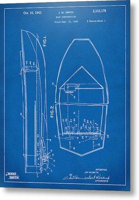 1943 Chris Craft Boat Patent Blueprint Metal Print by Nikki Marie Smith
