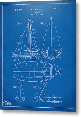 1948 Sailboat Patent Artwork - Blueprint Metal Print by Nikki Marie Smith