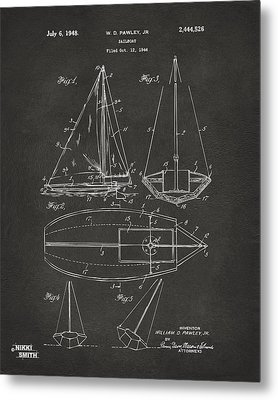 1948 Sailboat Patent Artwork - Gray Metal Print by Nikki Marie Smith
