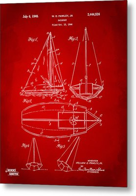 1948 Sailboat Patent Artwork - Red Metal Print by Nikki Marie Smith