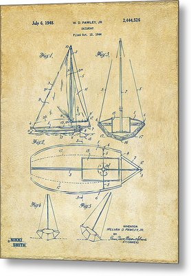 1948 Sailboat Patent Artwork - Vintage Metal Print by Nikki Marie Smith