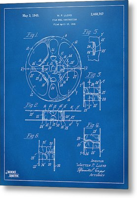 1949 Movie Film Reel Patent Artwork - Blueprint Metal Print by Nikki Marie Smith