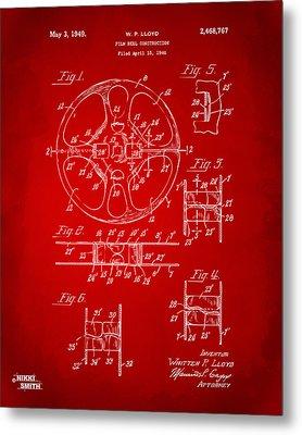 1949 Movie Film Reel Patent Artwork - Red Metal Print by Nikki Marie Smith