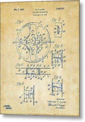 1949 Movie Film Reel Patent Artwork - Vintage Metal Print by Nikki Marie Smith