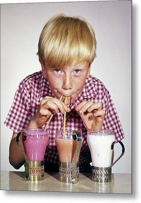 1950s 1960s Blond Boy Looking At Camera Metal Print