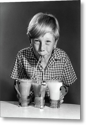 1950s 1960s Portrait Of Blonde Boy Metal Print