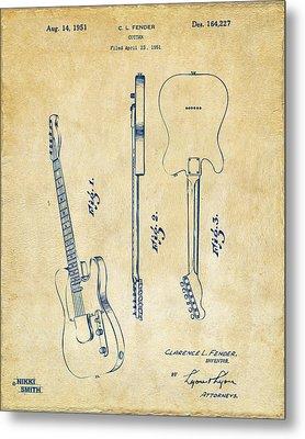 1951 Fender Electric Guitar Patent Artwork - Vintage Metal Print by Nikki Marie Smith