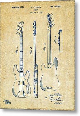 1953 Fender Bass Guitar Patent Artwork - Vintage Metal Print by Nikki Marie Smith