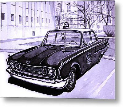 1960 Ford Fairlane Police Car Metal Print