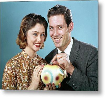 1960s Smiling Couple Looking At Camera Metal Print