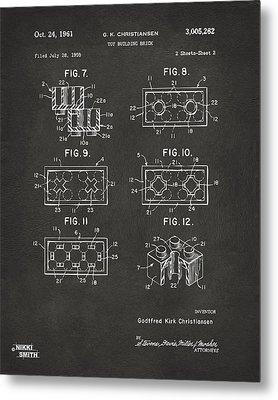 1961 Lego Brick Patent Art - Gray Metal Print by Nikki Marie Smith