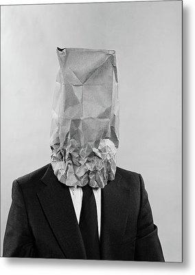 1970s Man Business Suit Paper Bag Metal Print