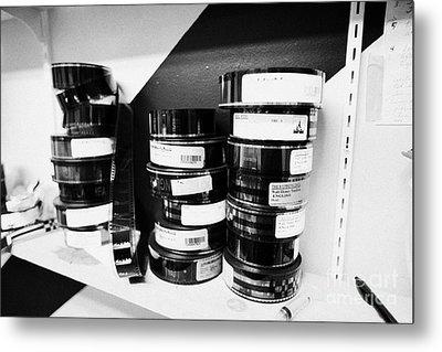 35mm Cinema Films On Shelf In Old Cinema Projection Room Biggar Saskatchewan Canada Metal Print